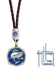 Guy Harvey Shark Dark Leather Bolo Necklace Gulf Stream Blue 25mm SterlingSilver
