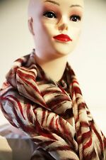 DAVID LAWRENCE Sliced long scarf - wrap red-multi colour cotton new with tag