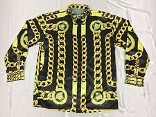 BARROCO ICONIC GOLD BAROQUE SILK SHIRT FOR MEN SIZE M-L GOLD CHAINS SILK SHIRT M