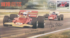 1970 LOTUS-COSWORTH 72C & FERRARI 312B HOCKENHEIM F1 cover signed JOHN MILES