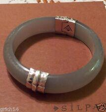 Silpada Sterling Silver Gray Resin Engraved Bangle Bracelet B2186  RETIRED NEW!