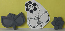 Magenta RUBBER STAMP Unmounted STYLIZED GRAPHIC FLOWER & LEAVES in 2 PARTS