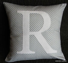 GIRLS BOYS PERSONALISED GREY SPOT NAME INITIAL LETTER CUSHION PILLOW COVER