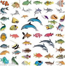 50 x TROPICAL FISH DOLPHINS SHELLS MIXED STICKERS TILES BATHROOM BEDROOM WALL