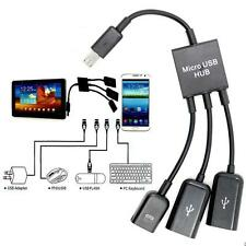 3 in1 Micro USB 2.0 Host OTG Hub Adapter Cable For Android Samsung MOTO HTC LG