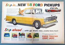 Original 2 PAGE 1958 Ford Yellow & White Pickup Truck Ad STEP IN ....STEP AHEAD