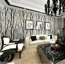 Forest Woods Trees Wallpaper Embossed Viny Black White Mural Wall Sticker