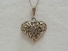 """Sterling Silver 18"""" Necklace With Sterling Silver Filigree Puff Heart Pendant"""