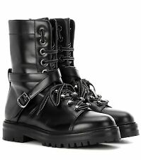 VALENTINO LACE-UP LEATHER COMBAT BOOTS EU 37.5 UK 4.5 US 7.5