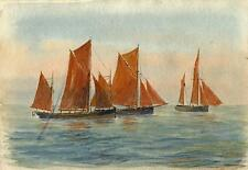 FISHING BOATS AT SEA Watercolour Painting CHARLES VERNON METHLEY c1930 SEASCAPE