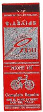 BICYCLE SPIVEY'S REPAIR Phone #129 Exeter CA VINTAGE Advertising Matchbook Cover