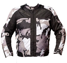 BLACK ASH MENS CAMO MOTORCYCLE CORDURA TEXTILE ARMOR JACKET GREY LARGE