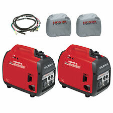 Honda (2) EU2000i 2000W Generator with Inverter, (2) Silver Cover, Parallel Cord