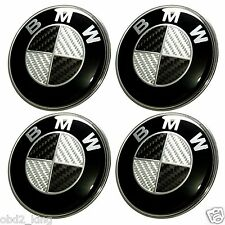 4 PCS BMW Carbon 68mm Wheel Center Cover Emblem Logo Hub Cap Set e46 e60 e90 e91