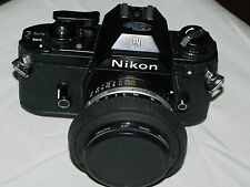 VINTAGE/ANTIQUE-NIKON EM 35MM SLR Camera WITH NIKON 50mm  1:1.8 SERIES E LENS