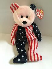 Retired TY Beanie Baby Bear USA ~ Spangle Pink Face ~ NWT