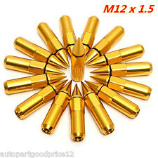 20xGolden Aluminum Spiked Lug Nuts Extended Tuner 60mm For M12X1.5 Wheels / Rims