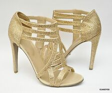 New $2080 Sergio Rossi Italy Crystal Cage Strappy Sandal Heels Pump ~Gold *10/40