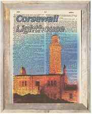Corsewall Lighthouse Scotland Altered Art Print Upcycled Vintage Dictionary Page