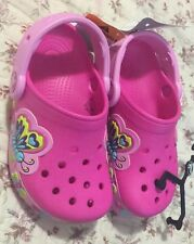 Crocs Crocband Lights Up Butterflies Girls Shoes Size 10 Neon Magenta