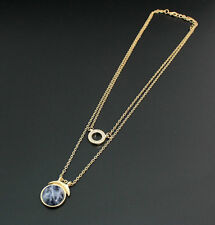 14K Gold Plated Natural Stone Pendent  Lapis lazuli Necklace XL1040