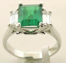 18K WHITE GOLD COLOMBIAN EMERALD DIAMOND RING SIZE 6