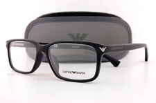 Brand New EMPORIO ARMANI Eyeglass Frames 3072 5042 Black Men Women Size 56