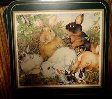 Lot of 12 PIMPERNEL RABBITS Bunnies Easter Cork Backs Coasters England EUC