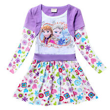 Girls Kids Frozen Elsa Anna Dress Tunic Top Dresses Floral Clothes SZ 6-7 Purple
