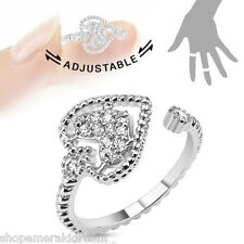TJS Heart Midi Ring Clear CZ Rhodium Plated Brass Toe Finger Knuckle Adjustable