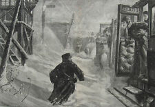 1881 Two Large Engravings - Trains Blocked in Snowstorms in England & Scotland