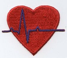 Iron On Embroidered Applique Patch Medical Red Heart EKG with Blue Heartbeat