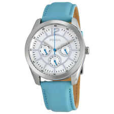 Fossil Silver Dial Blue Leather Strap Ladies Watch BQ1456