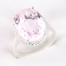 Popular Valentine's Day Gift Charming Pink Kunzite Topaz New Silver Ring Size 8