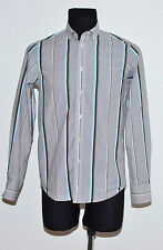 MENS BEN SHERMAN CASUAL SHIRT LONG SLEEVED GREY STRIPED SIZE S SMALL EXCELLENT