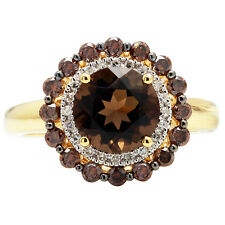 14K ROSE GOLD BROWN CHAMPAGNE DIAMOND SMOKY TOPAZ HALO ENGAGEMENT RING