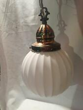 Vtg Ribbed White Globe Swag Lamp Hanging Light Fixture~ MID CENTURY Brass Detail