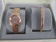 NEW Michael Kors Petite Pave Runway Rose Gold Watch Bracelet Set MK3626 NIB Mini