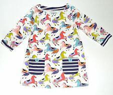Mini Boden 6 7 Tunic Dress Horse Jersey Printed Cotton Girls kg1