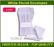 100 x FLORIST CARD CRAFT ENVELOPES WHITE 11cm x 7cm