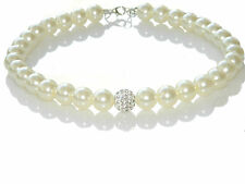 Wedding Bridal Cream White 12 mm Pearls Crystal Disco Ball Choker Necklace N148