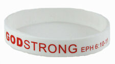 8030002 Adult White Band With Red Print Godstrong Silicone Band Eph. Ephesians 6