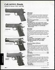 2003 COLT M1911 O Series 1991 & XSE Government, Contender, Gold Cup Pistol AD