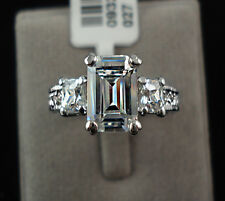 Emerald Cut 3ct Diamond Sterling Silver Solitaire Engagement Ring Size 5/6/7/8/9