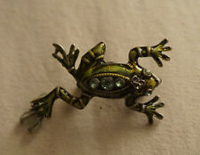 Green Frog Pin/Brooch with Rhinestones and Beads
