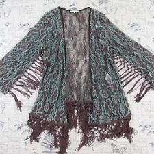 ANTHROPOLOGIE Ryu- Brown green stretch Lace open front Cardigan w fringe small S