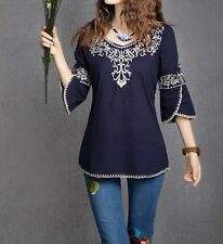 Women Peasant Ethnic Embroidered Boho Cotton Blouse Tunic Chic Top Gypsy Free Sz