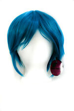 11'' Short Straight Men's Cut with Long Bangs Turquoise Blue Wig Cosplay NEW
