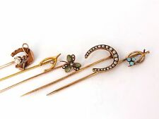 █ LOT OF (6) ANTIQUE HAT PINS COLLECTOR CLASSIC HORSESHOE JICKEY IRISH CLOVER