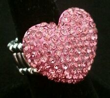 "1.25"" Pink Crystal HEART Stretch Band Cocktail Ring One Size Gift"